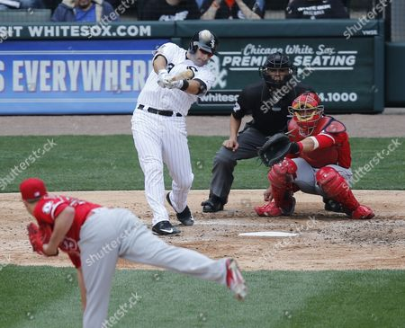 Gabe Morales. Geovany Soto, Alex Avila Chicago White Sox's Alex Avila, left, doubles off Los Angeles Angels starting pitcher Garrett Richards as catcher Geovany Soto and umpire Gabe Morales watch during the fifth inning of a baseball game, in Chicago