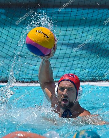 Merrill Moses United States goalkeeper Merrill Moses passes the ball during a men's exhibition water polo match against Australia, in Los Angeles
