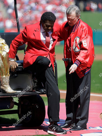 Lou Brock Former St. Louis Cardinals great Lou Brock, left, is helped out of a golf cart as he is introduced before the start a baseball game between the St. Louis Cardinals and the Milwaukee Brewers, in St. Louis. Brock, the former base stealing record holder and Major League Hall of Famer, had his left leg amputated just below the knee in the offseason due to complications from diabetes
