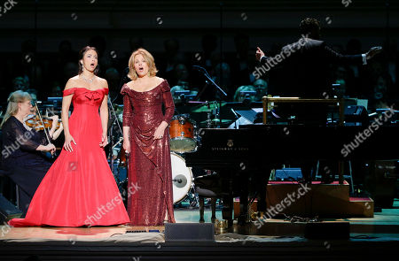 Isabel Leonard, left, and Renee Fleming perform together during Carnegie Hall's 125th Anniversary Concert, in, New York
