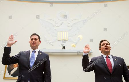 Jason Chaffetz, Ron DeSantis House Judiciary Committee members, Rep. Jason Chaffetz, R-Utah, left, and Rep. Ron DeSantis, R-Fla., are sworn in Capitol Hill in Washington, prior to testifying before the Judiciary Committee's hearing on allegations of misconduct against IRS Commissioner John Koskinen