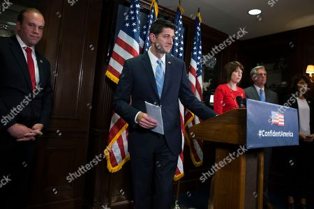 Paul Ryan, Cathy McMorris Rodgers, Kevin McCarthy, Kristi Noem, Jason Smith House Speaker Paul Ryan of Wis., walks off after speaking during a news conference at the Republican National Committee headquarters in Washington, . From left are, Rep. Jason Smith, R-Mo., Ryan, Rep. Cathy McMorris Rodgers, R-Wash., House Majority Leader Kevin McCarthy of Calif., and Rep. Kristi Noem, R-S.D