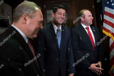 Paul Ryan, Jason Smith, Steve Scalise House Speaker Paul Ryan of Wis., center, laughs with House Majority Whip Steve Scalise of La., left, and Rep. Jason Smith, R-Mo., during a news conference at the Republican National Committee headquarters in Washington