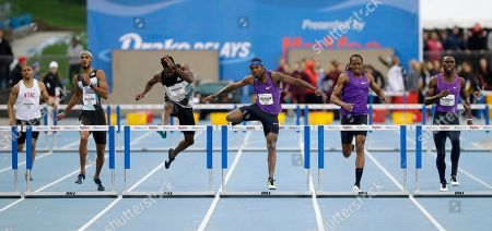Bershawn Jackson Bershawn Jackson, center, clears the final hurdle during the men's 400-meter hurdles at the Drake Relays athletics meet, in Des Moines, Iowa