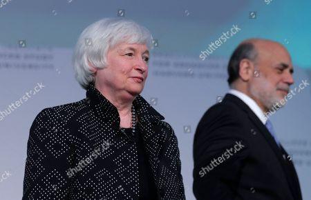 Janet Yellen, Ben Bernanke Federal Reserve Chair Janet Yellen during a Radcliffe Day event at Harvard University in Cambridge, Mass., . At right is her predecessor Ben Bernanke