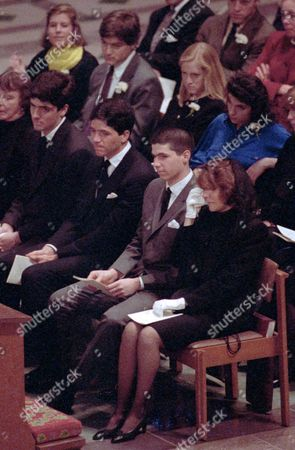Stock Image of Family members of late U.S. Sen. John Heinz, R-Pa., attend a service of thanksgiving for Heinz at the Washington National Cathedral in Washington, D.C. In the front row, from right, are Heinz's widow Teresa Heinz and his sons H. John Heinz IV, Andre Heinz and Chris Heinz. Teresa Heinz Kerry, 77, plans to step down as chairwoman of the Heinz Endowments in October 2016, according to a plan released by the $1.6 billion foundation, paving the way for her sons Andre Heinz, Chris Heinz and H. John Heinz IV to fill the position in a series of four-year rotations