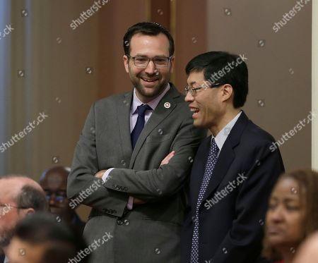 Ben Allen, Richard Pan State Sen. Ben Allen, D-Santa Monica, left, smiles as he and Sen. Richard Pan, D-Sacramento, watch as the votes are posted for his emergency legislation that would allow a man with HIV to receive part of his HIV-positive husband's liver, in Sacramento, Calif. California law prohibits authorized transplants of HIV-infected organs, but the passage of Allen's bill will allow the procedure to be performed. Both houses of the Legislature approved the measure which now goes to Gov. Jerry Brown
