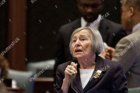 Illinois Rep. Barbara Flynn Currie, D-Chicago, argues legislation while on the House floor during session at the Illinois State Capitol, in Springfield, Il. Illinois Gov. Bruce Rauner has released figures breaking down how much each Illinois school district would receive next year under his education funding plan