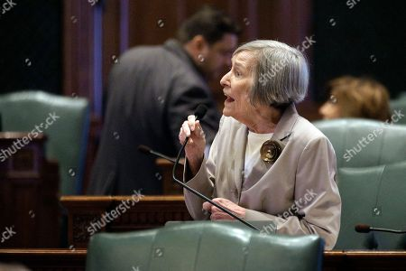 Stock Image of Illinois Rep. Barbara Flynn Currie, D-Chicago, speaks to lawmakers while on the House floor during session at the Illinois State Capitol, in Springfield, Ill. Rauner and Republican leaders in the Illinois Legislature gathered to talk about the final week of the legislative session