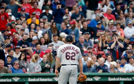 Joba Chamberlain Cleveland Indians' Joba Chamberlain walks off the filed after being taken out during the seventh inning of a baseball game against the Boston Red Sox in Boston