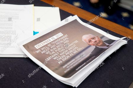 Stock Picture of A packet with a photograph of IRS Commissioner John Koskinen sits on a table, on Capitol Hill in Washington, prior to Rep. Jason Chaffetz, R-Utah and Rep. Ron DeSantis, R-Fla., testified before the House Judiciary Committee hearing on allegations of misconduct against IRS Commissioner John Koskinen