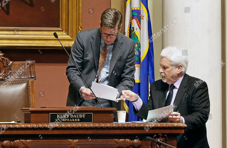Kurt Daudt, Patrick Duffy Murphy Minnesota House Speaker Kurt Daudt, left, and chief clerk Patrick Duffy Murphy confer while lawmakers dealt with bills and amendments, in St. Paul, Minn., as the legislative session winds down with about two weeks to go