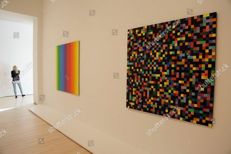 Pieces by Ellsworth Kelly are seen during a preview of the newly expanded San Francisco Museum of Modern Art, in San Francisco. The new museum opened to the public Saturday, May 14, 2016 with 19 inaugural exhibitions showcasing the work of artists like Diego Rivera, Henri Matisse, Andy Warhol and Mark Bradford