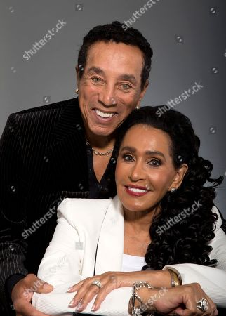 """Frances Gladney,Smokey Robinson Music legend Smokey Robinson and his wife, Frances Gladney, pose in Los Angeles to promote their new skincare lines, """"My Girl"""" for women and """"Get Ready"""" for men"""