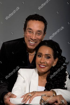 """Stock Photo of Frances Gladney, Smokey Robinson Music legend Smokey Robinson and his wife, Frances Gladney, pose in Los Angeles to promote their new skincare lines, """"My Girl"""" for women and """"Get Ready"""" for men"""