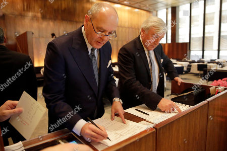 Stock Picture of Alex von Bidder, Julian Niccolini Four Seasons restaurant co-owners Alex von Bidder, left, and Julian Niccolini look over the luncheon reservations lists at the restaurant in New York, . New York's original power lunch restaurant is closing and everything must go. The July 26 auction was announced this week and will mark the end of an era for a restaurant that has been a favorite of celebrities and business titans ever since it opened in 1959