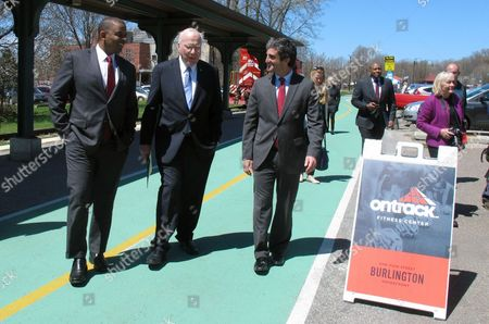 Anthony Foxx, Patrick Leahy, Miro Weinberger U.S. Transportation Secretary Anthony Foxx, left, U.S. Sen. Patrick Leahy, center, and Burlington, Vt., Mayor Miro Weinberger walk outside the passenger rail station in Burlington, Vt., on . Officials announced a $10 million federal grant that will bring Amtrak passenger trains back to Vermont's largest city. Vermont officials have worked for years to upgrade the rails along the route, improve crossings, and add stations so passengers can start riding the route once again