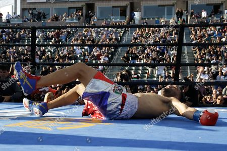 Edwin Rodriguez Edwin Rodriguez falls to the canvas after he was knocked down by Thomas Williams Jr. during the second round of a light heavyweight boxing match, in Carson, Calif. Williams won by knockout in the second round