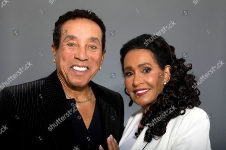 "Stock Photo of Smokey Robinson,Frances Gladney Music legend Smokey Robinson and his wife, Frances Gladney, pose in Los Angeles to promote their new skincare lines, ""My Girl"" for women and ""Get Ready"" for men"