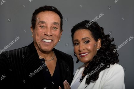 "Stock Picture of Smokey Robinson, Frances Gladney Music legend Smokey Robinson and his wife, Frances Gladney, pose in Los Angeles to promote their new skincare lines, ""My Girl"" for women and ""Get Ready"" for men"