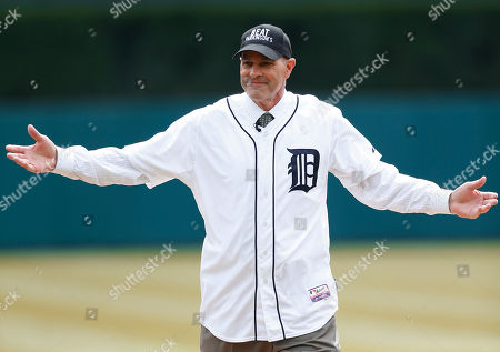 Kirk Gibson Kirk Gibson reacts after throwing a ceremonial pitch before an opening day baseball game between the New York Yankees and Detroit Tigers, in Detroit