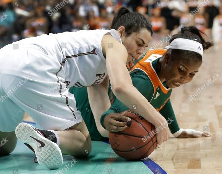 Leticia Romero, Michelle Woods Florida State's Leticia Romero, left, and Miami's Michelle Woods, right, battle for a loose ball during the second half of an NCAA college basketball game in the Atlantic Coast Conference tournament in Greensboro, N.C., . Miami won 74-56