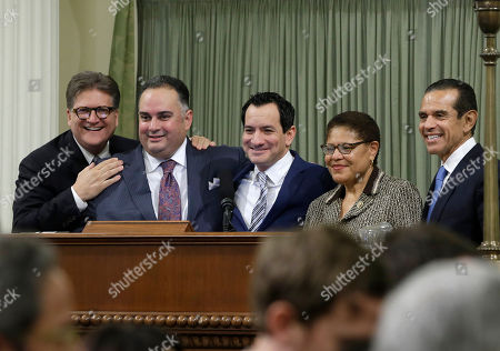 Robert Hertzberg, John Perez, Anthony Rendon, Karen Bass, Antonio Villaraigosa New Assembly Speaker Anthony Rendon, D-Paramount, center, poses with past Assembly Speakers, state Sen. Robert Hertzberg, D-Van Nuys, left, John Perez, D-Los Angeles, second from left, Rep. Karen Bass, D-Calif., second from right, and Antonio Villaraigosa, D-Los Angeles, in Sacramento, Calif. Rendon replaces Toni Atkins, D-San Diego, who be leaving office due to term limits at the end of this year's legislative session