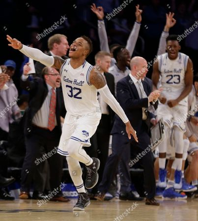 Seton Hall guard Derrick Gordon (32) reacts after hitting a 3-point shot late in the NCAA college basketball game against Creighton during the Big East men's tournament, in New York. Seton Hall won 81-73