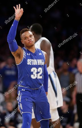 Derrick Gordon Seton Hall's Derrick Gordon (32) reacts after making a three point basket during the first half of an NCAA college basketball game against Villanova during the Big East men's tournament, in New York. Seton Hall won 69-67