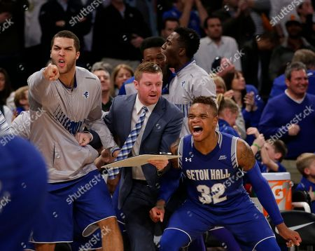 Derrick Gordon Seton Hall's Derrick Gordon (32) celebrates with teammates after Isaiah Whitehead (15) made the game winning shot during the second half of an NCAA college basketball game against Villanova during the Big East men's tournament, in New York. Seton Hall won 69-67
