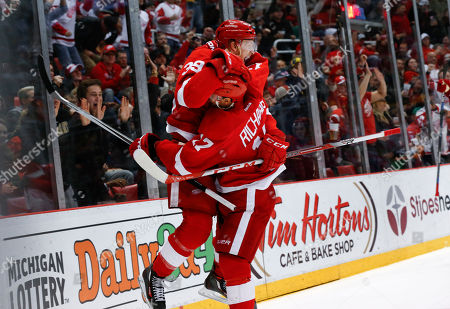 Anthony Mantha Detroit Red Wings right wing Anthony Mantha (39) celebrates his goal against the Montreal Canadiens with Brad Richards (17) in the second period of an NHL hockey game, in Detroit