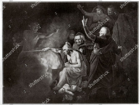 Mother Jourdain and Henry Bolinghbroke. Henry VI (part II) play by William Shakespeare (Act I). Engraving by John Opie in: Shakespeare Album, issue dedicated to William Shakespeare of the newspaper: Pesti Naplo, Hungary, ca 1900.