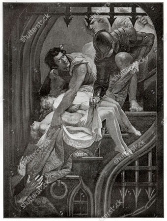 Murder of the sons of Eduard IV. Richard III, play by William Shakespeare (Act V). Engraving by James Northcote in: Shakespeare Album, special issue dedicated to William Shakespeare of the newspaper: Pesti Naplo, Hungary, ca 1900.