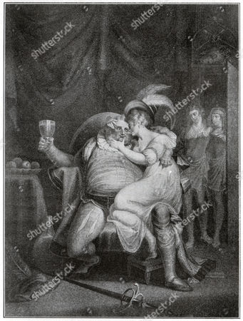 Sir John Falstaff. Henry IV, play by William Shakespeare (Part II, Act II). Engraving by A. Fuseli in: Shakespeare Album, special issue dedicated to William Shakespeare of the newspaper: Pesti Naplo, Hungary, ca 1900.