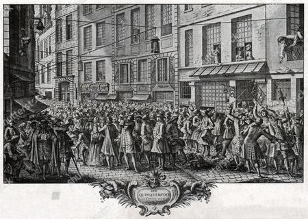 The rue Quincampoix in Paris, where the head office of the Banque Generale Privee (bank of the scottish economist John Law) was located, 1720. Engraving in: Histoire de la Marine, France, 1939.