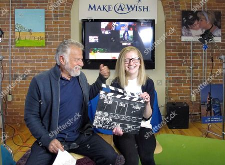 """Jonathan Goldsmith, left, works on a public service announcement with Jamie Heath of Barre, Vt., at the Make-A-Wish Vermont office in Burlington, Vt. Goldsmith, who appeared for nine years as the """"Most Interesting Man in the World,"""" in Dos Equis beer commercials, will star in public service announcements for Make-a-Wish Foundation Vermont. The Mexican beer brand recently dropped the 77-year-old for a younger replacement, who will appear in commercials later this year"""