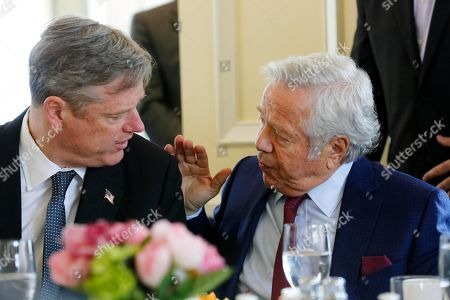 Robert Kraft, Charlie Baker New England Patriots owner Robert Kraft speaks with Massachusetts Gov. Charlie Baker while waiting to hear General Electric chairman and CEO Jeffrey Immelt speak at the Boston College Chief Executives Club in the Boston Harbor Hotel in Boston