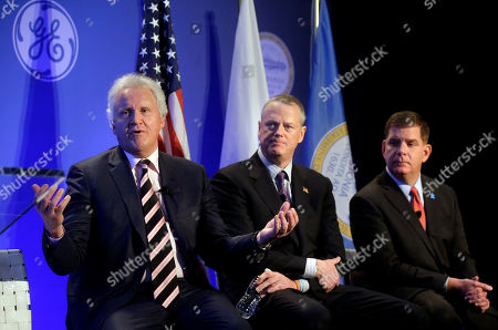Jeff Immelt, Charlie Baker, Marty Walsh General Electric CEO Jeff Immelt, left, takes questions from reporters as Massachusetts Gov. Charlie Baker, center, and Boston Mayor Marty Walsh, right, look on during a news conference in Boston, held to unveil more details about GE's move to the city. GE is pledging to spend $50 million on a series of initiatives in Boston
