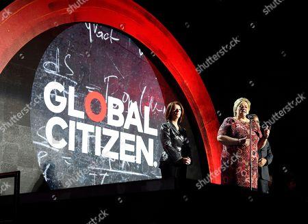 Erna Solberg, Julia Gillard, Jakaya Kikwete Norway's Prime Minister Erna Solberg addresses the audience with former Prime Minister of Australia Julia Gillard, left, and Jakaya Kikwete, former President of Tanzania, at the Global Citizen Festival in New York