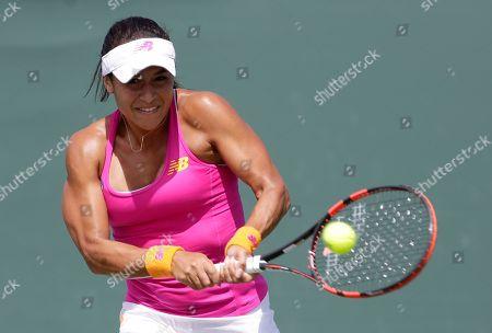 Heather Watson Heather Watson, of Great Britain, returns to Petra Cetkovska, of the Czech Republic, at the Miami Open tennis match, in Key Biscayne, Fla