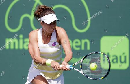 Petra Cetkovska Petra Cetkovska, of the Czech Republic, returns to Heather Watson, of Great Britain, at the Miami Open tennis match, in Key Biscayne, Fla