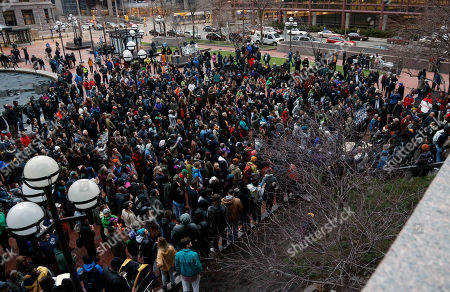 Betsy Hodges, Janee Harteau Hundreds of protesters representing numerous groups protest at the Government Center in Minneapolis Wednesday evening, following a decision earlier in the day by County Attorney Mike Freeman that no charges will be filed against two Minneapolis police officers in the fatal shooting of a black man, Jamar Clark, last November