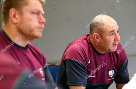 Tom Coventry, Tom Court London Irish head coach Tom Coventry, right, speaks to reported during a conference call news conference with prop Tom Court, left, ahead of their Rugby match against the Saracens, in Morristown, N.J. The teams will square off at Red Bull Arena in Harrison, N.J., on Saturday