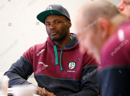 Topsy Ojo, Tom Coventry London Irish winger Topsy Ojo, left, listens to head coach Tom Coventry, right, answer questions during a news conference ahead of their Rugby match against the Saracens, in Morristown, N.J. The teams will square off at Red Bull Arena in Harrison, N.J., on Saturday