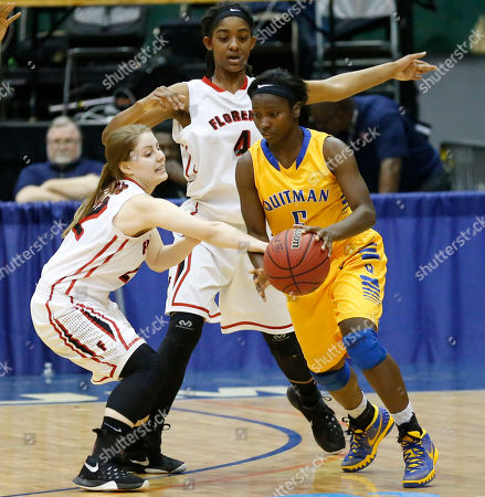 Sarah Allen, MiKayla Patton, Chequira Bonner Florence's Sarah Allen, left, and MiKayla Patton (4) attempt to take the ball away from Quitman's Chequira Bonner (5) in the MHSAA Class 4A Girls basketball championship game in Jackson, Miss