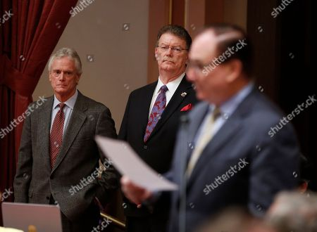 State Sen. Bob Huff, R-San Dimas, right, joined other lawmakers in speaking while the Legislature adjourned in memory of former first lady Nancy Reagan, as her former son-in-law, Dennis Revell, center, and Reagan staff member Dennis LeBlanc, left, look, in Sacramento, Calif