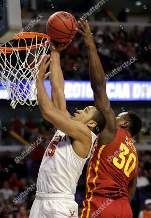 Deonte Burton, Malcolm Brogdon Iowa State's Deonte Burton (30) blocks a shot by Virginia's Malcolm Brogdon (15) during the second half of a college basketball game in the regional semifinals of the NCAA Tournament, in Chicago