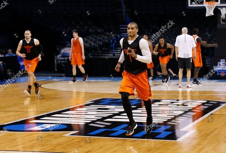 Gary Payton II Oregon State guard Gary Payton II (1) runs during a drill during a practice for a first round men's college basketball game in the NCAA Tournament, in Oklahoma City