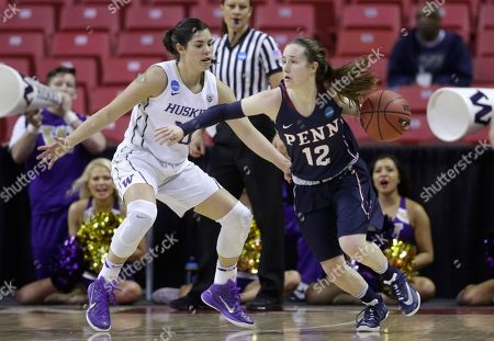 Kelsey Plum, Kasey Chambers Penn guard Kasey Chambers, right, drives against Washington guard Kelsey Plum in the first half of an NCAA college basketball game in the first round of the NCAA tournament, in College Park, Md