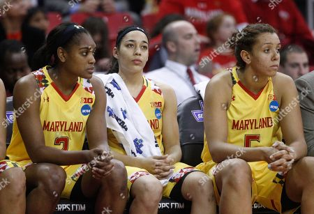 Kiara Leslie, Chloe Pavlech, Malina Howard Maryland guard Kiara Leslie, from left, guard Chloe Pavlech and center Malina Howard sit on the bench in the final moments of an NCAA college basketball game against Washington in the second round of the NCAA tournament, in College Park, Md